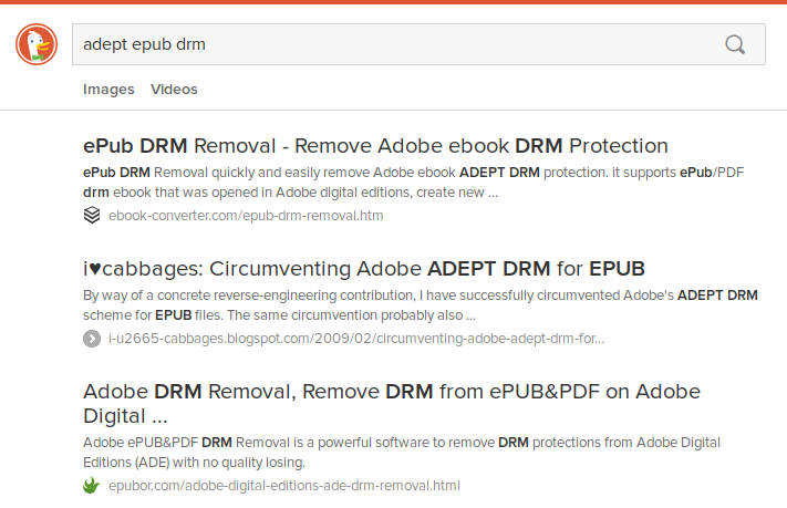 "Screenshot of duckduckgo.com search for ""adept epub drm""."