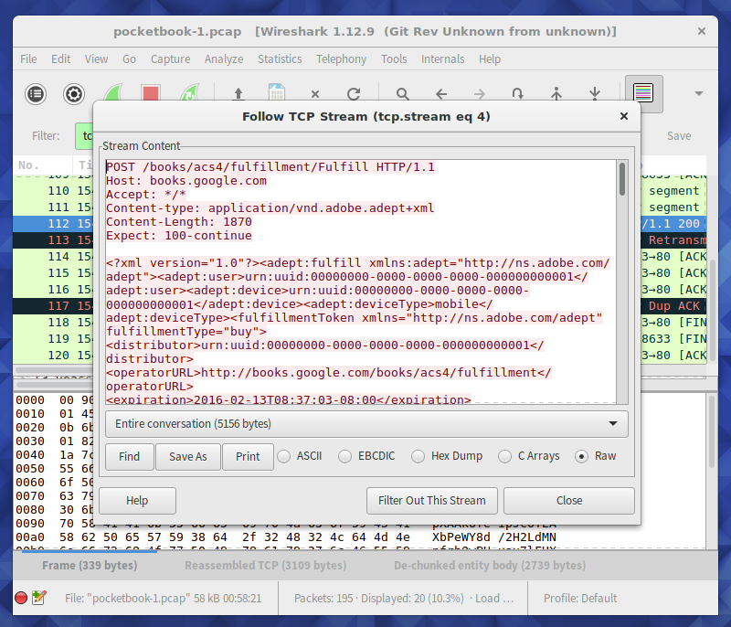 Screenshot of Wireshark displaying HTTP traffic from/to e-reader.
